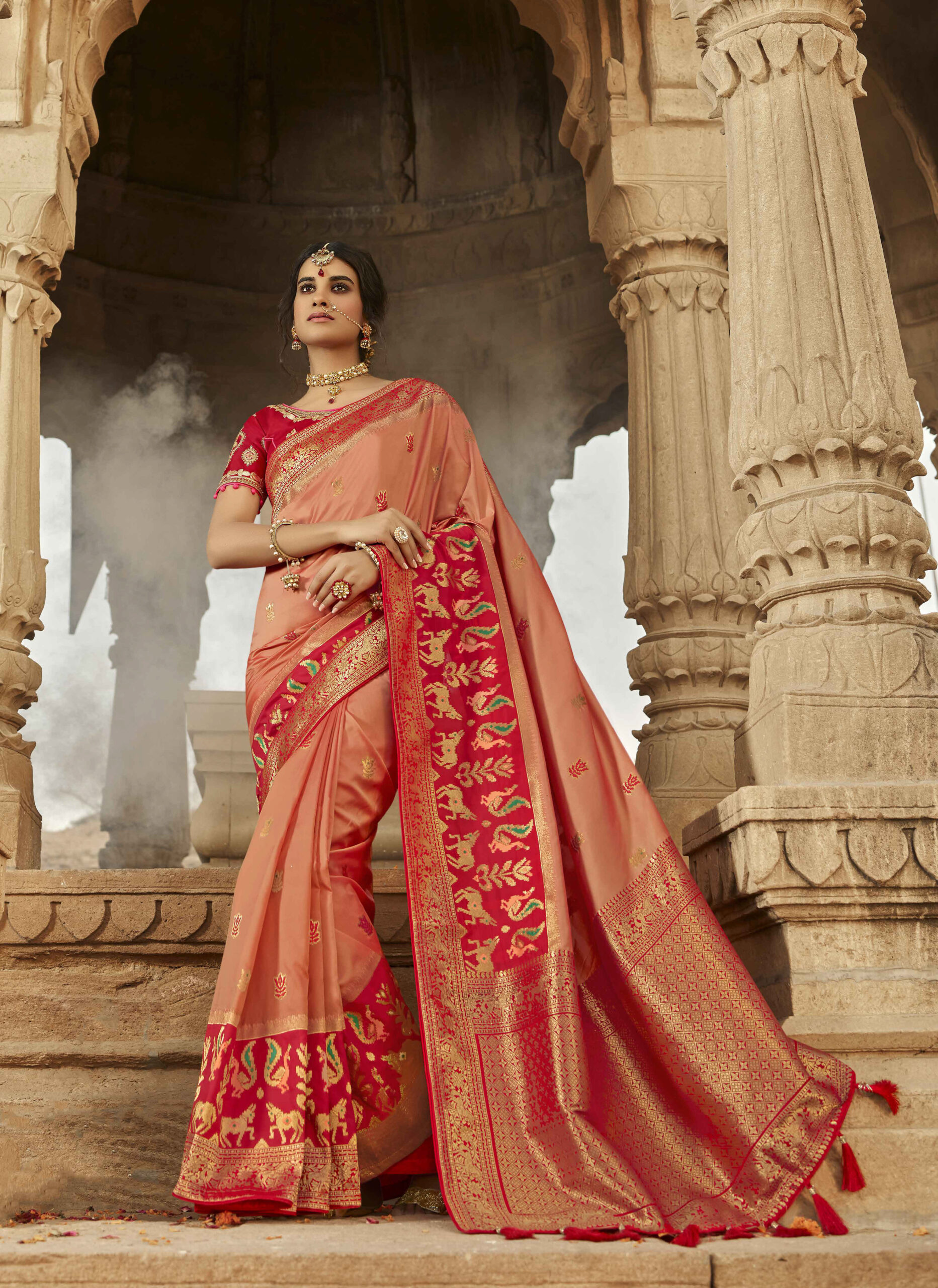 Bridal Wear Orange Silk Saree with Contrast Blouse