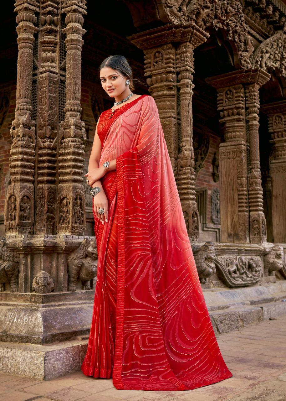 Designer New Stylish Red Zebra Print Saree