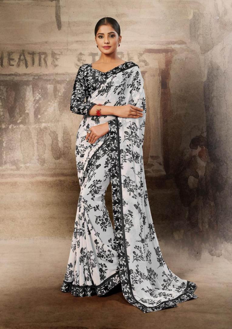 New Black-White Color Georgette Designer Saree With Designer Blouse