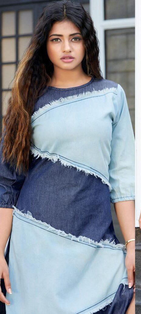New Cheap Trend Blue Color Long Denim Kurti Outfits.
