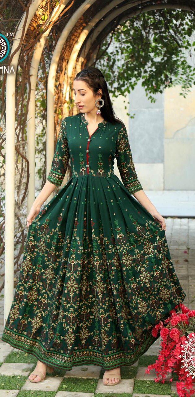 New Designer Green Color Anarkali Kurti Design 2021.