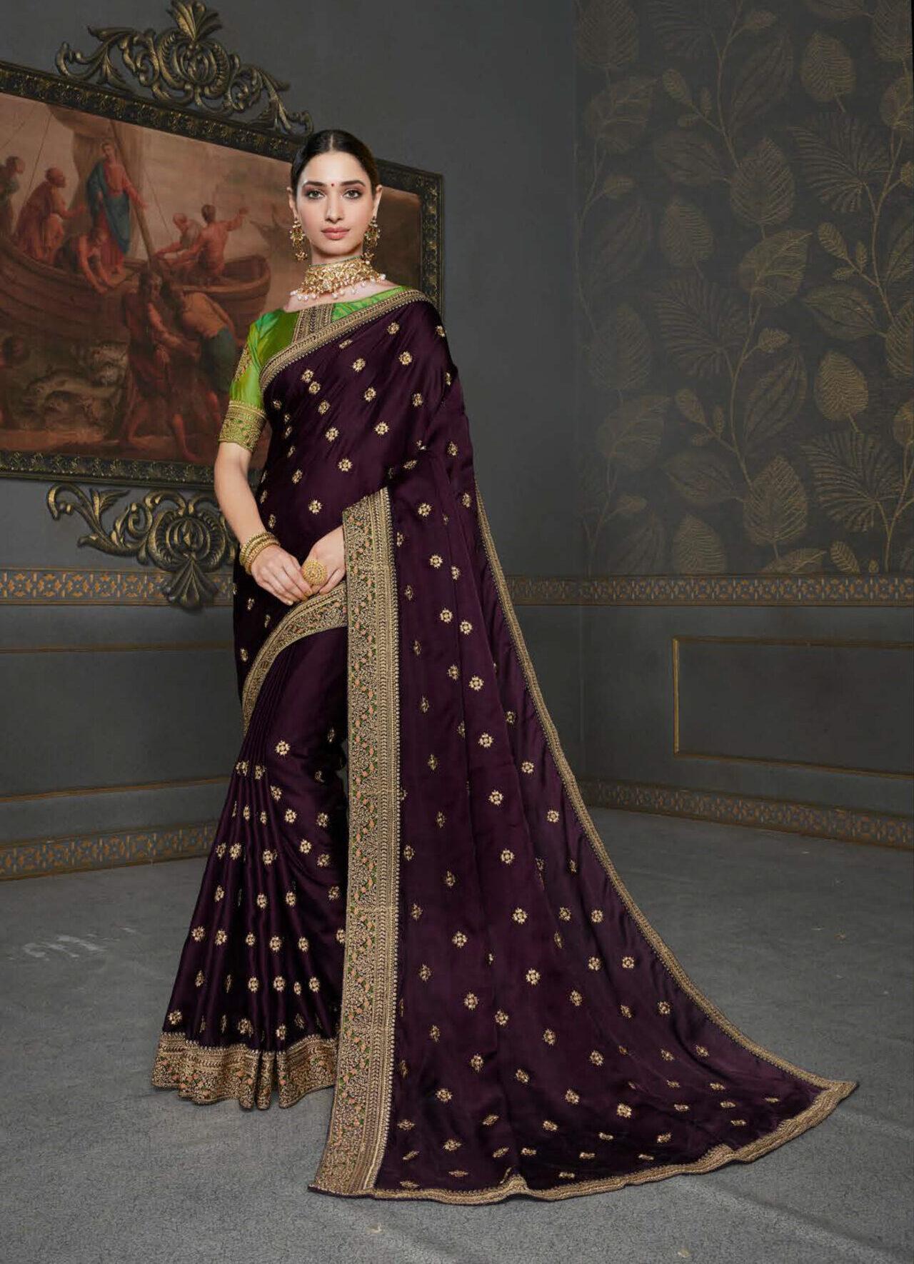 New Fashion Designer Party Wear Royal Saree in Jamun Colour