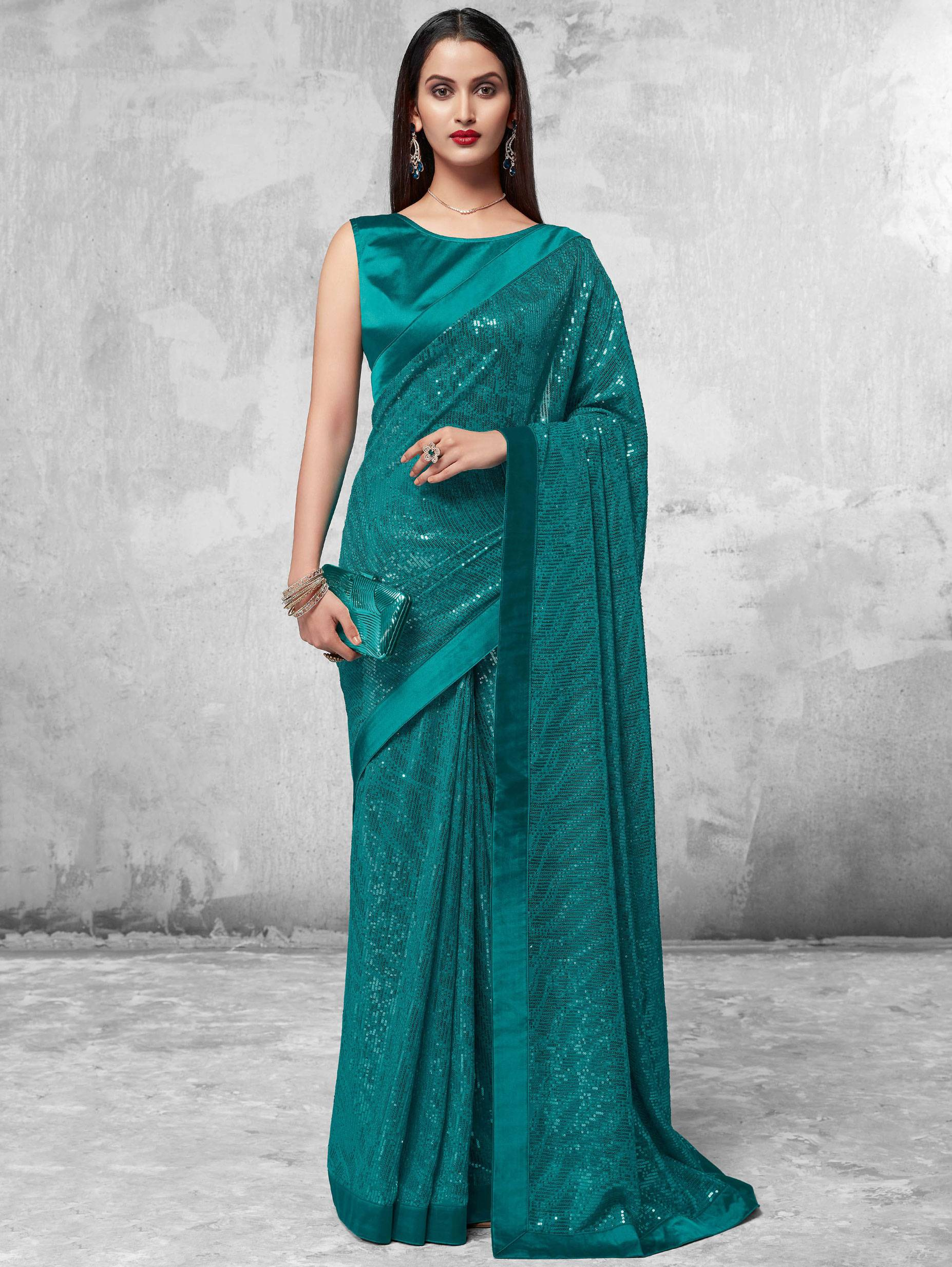 New Mode Rama Green Traditional Fancy Party-wear Saree.