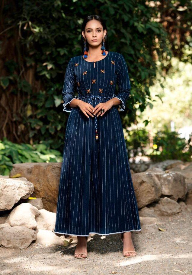 New Trend Designer Blue Color Design For Anarkali Suit.