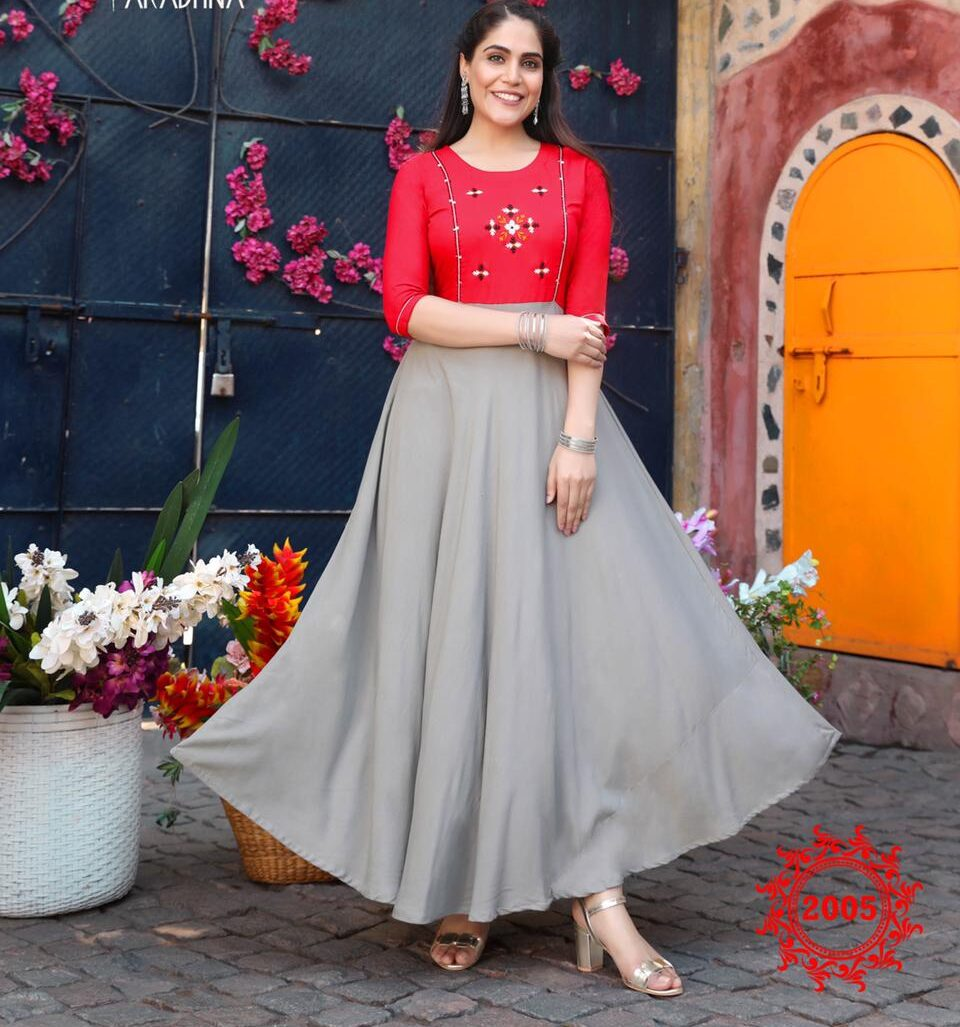 New Trend Designer Red Grey Color Design For Anarkali Suit.