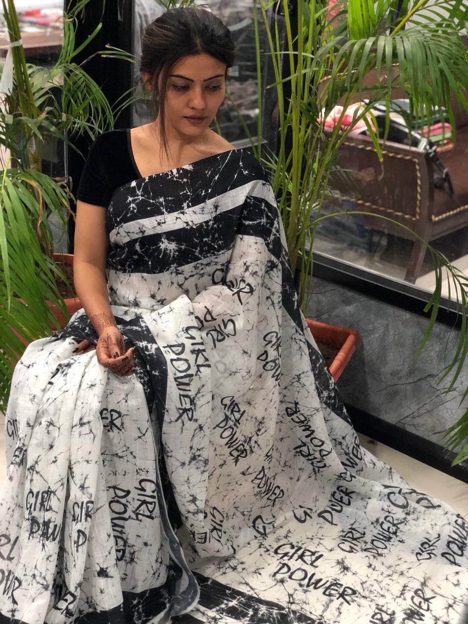 New Trend Designer White Black Color Newspaper Print Saree