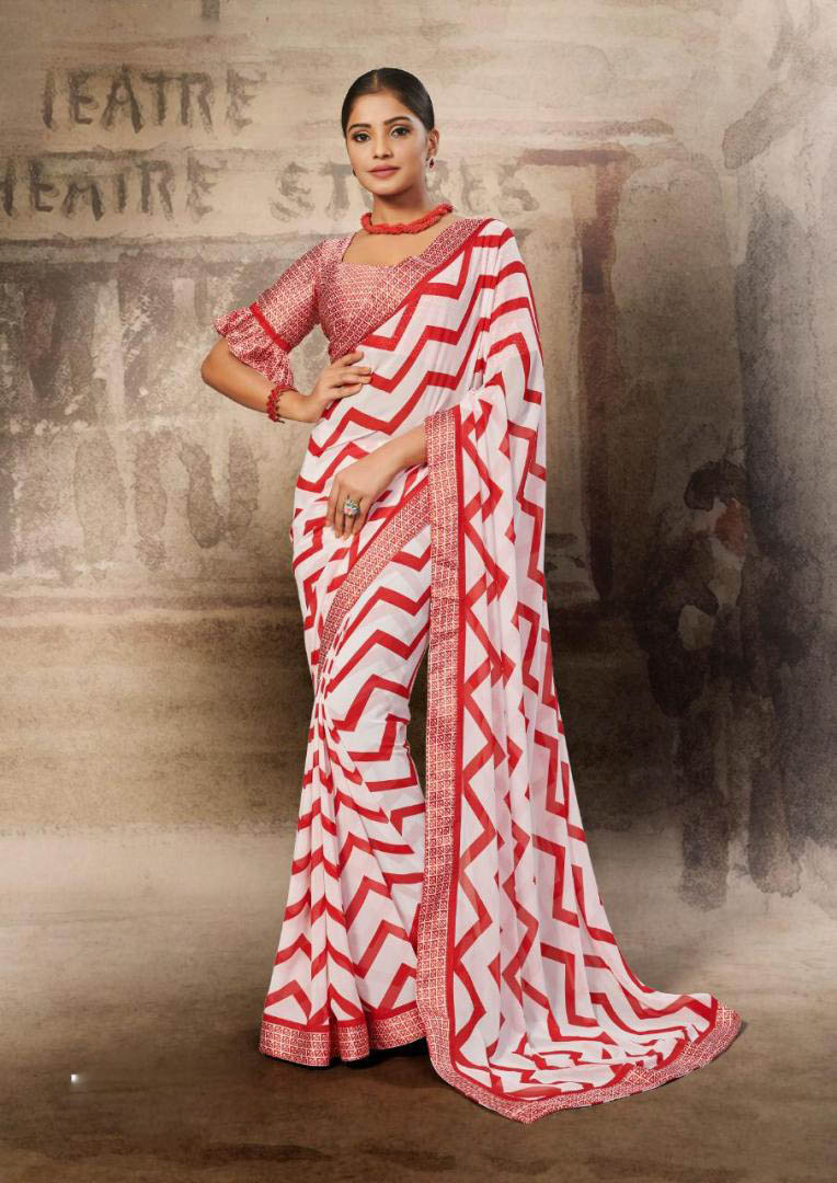 New White-Red Color Georgette Blouse Pattern For Designer Saree