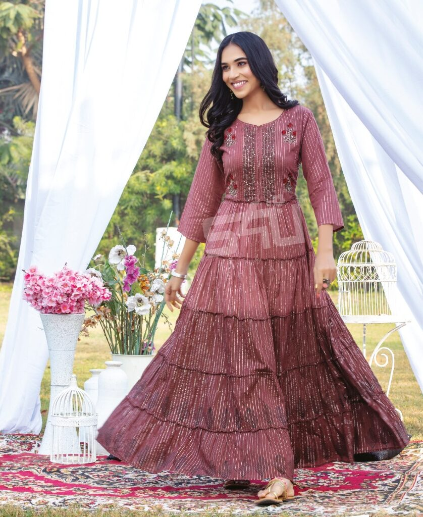 Ready Made Floor Length Suits Coffee Colour