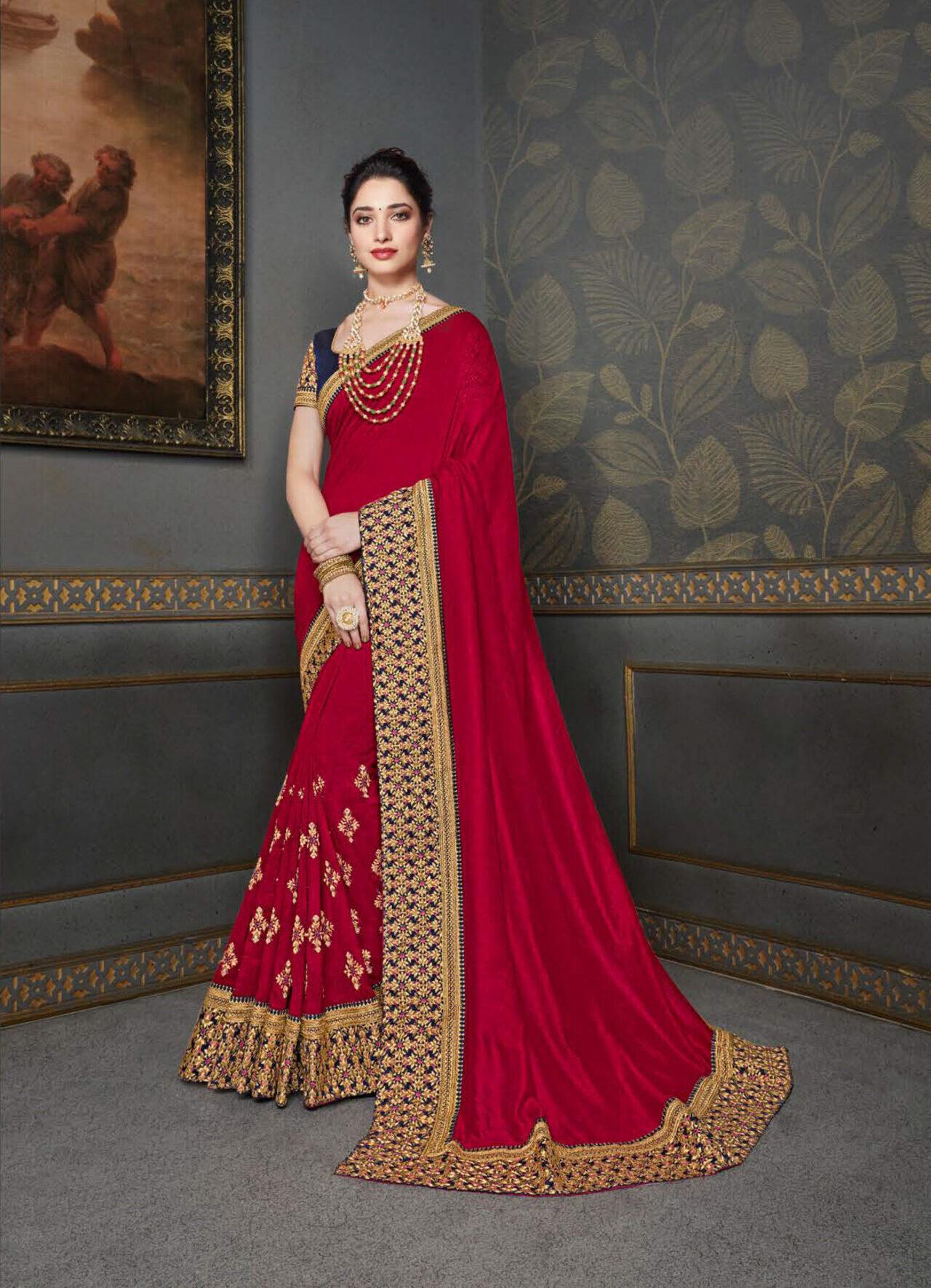 Best Designer Red Party Wear Saree Silk