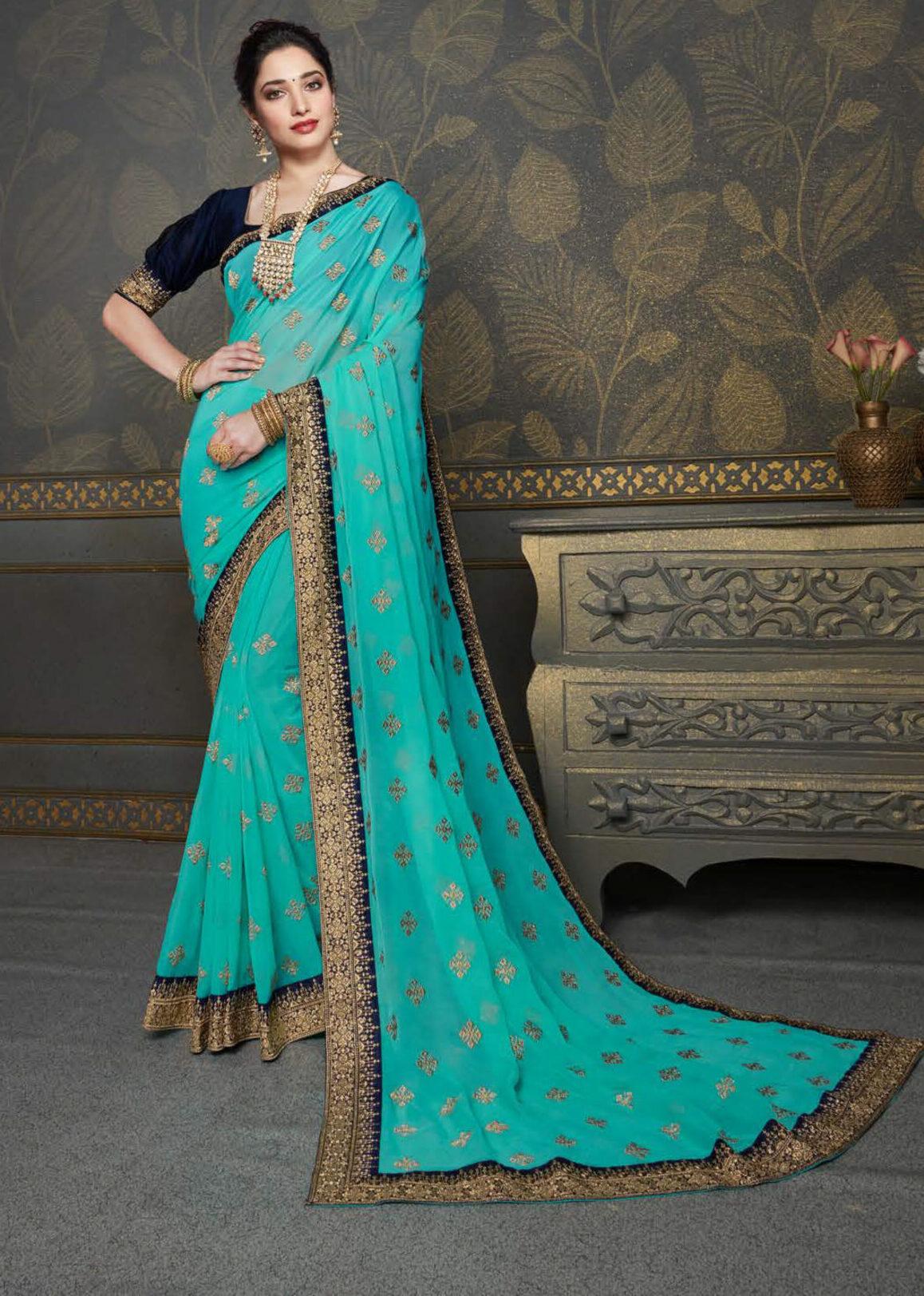 Sky Blue Colour Chiffon Gold Border Party Wear Saree New Design