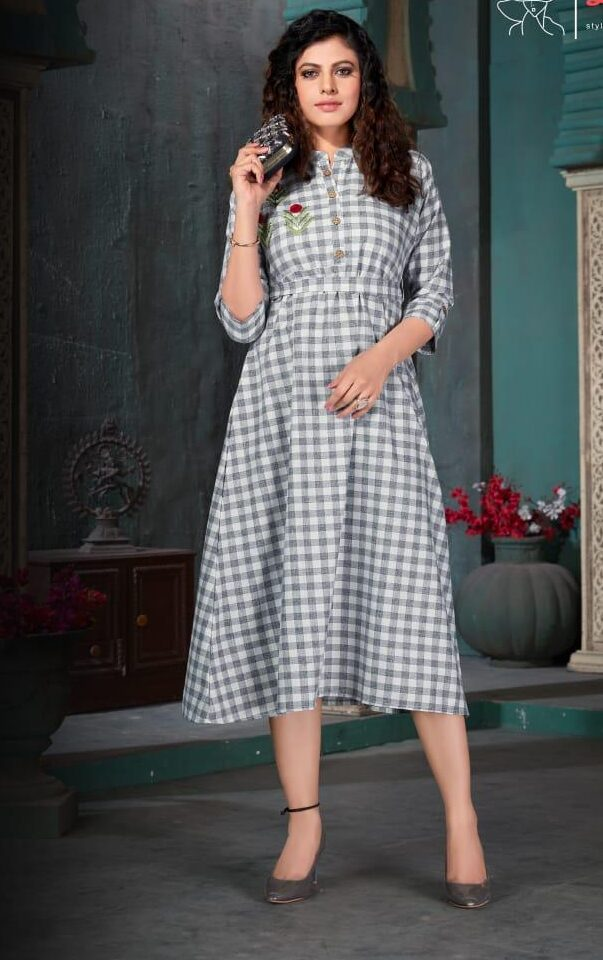 Best traditional cotton check print kurti design with belt