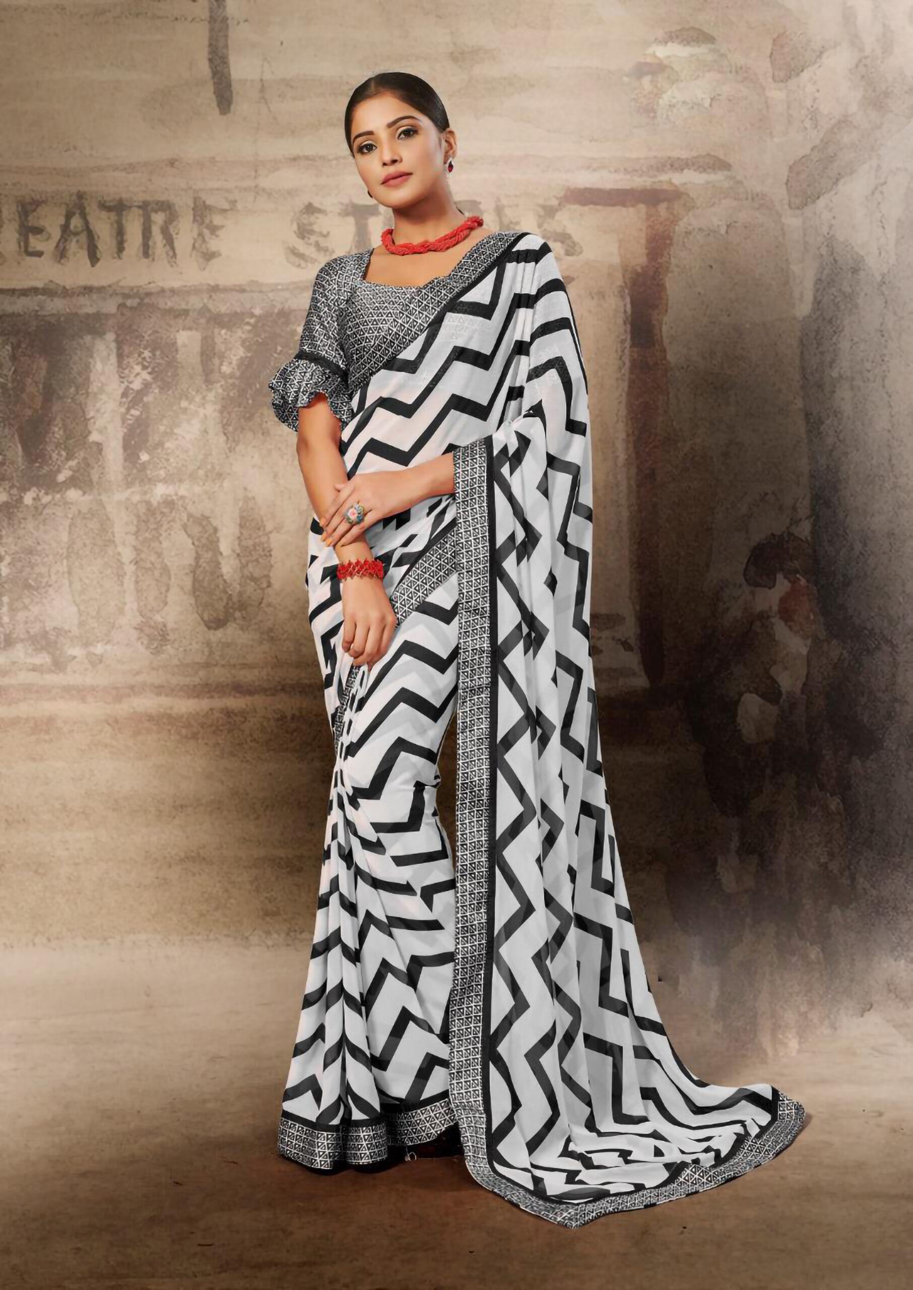 New Designer Zebra Print Saree Online India