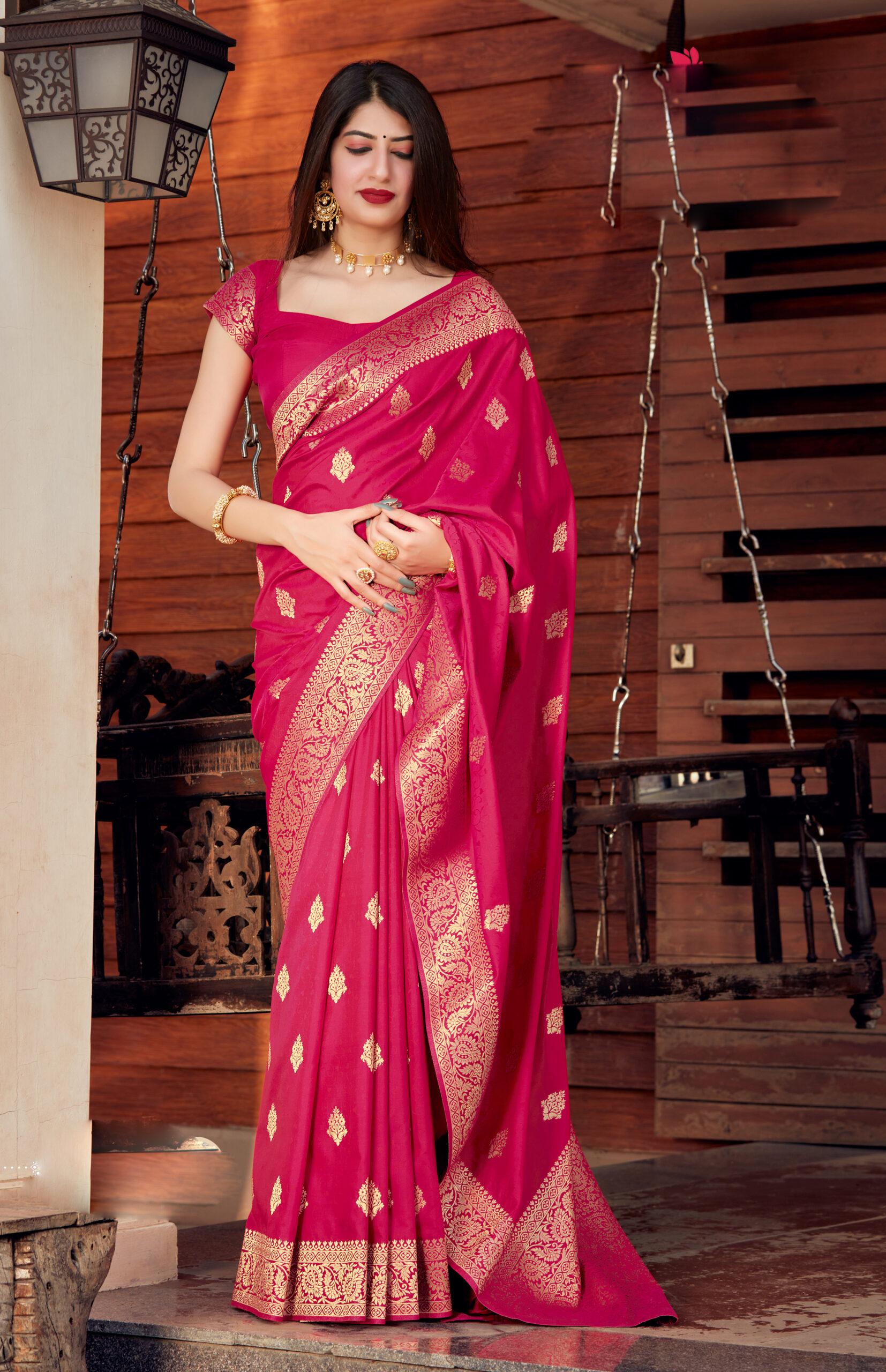 New Trend Designer Pink Color Silk Saree Design With Price