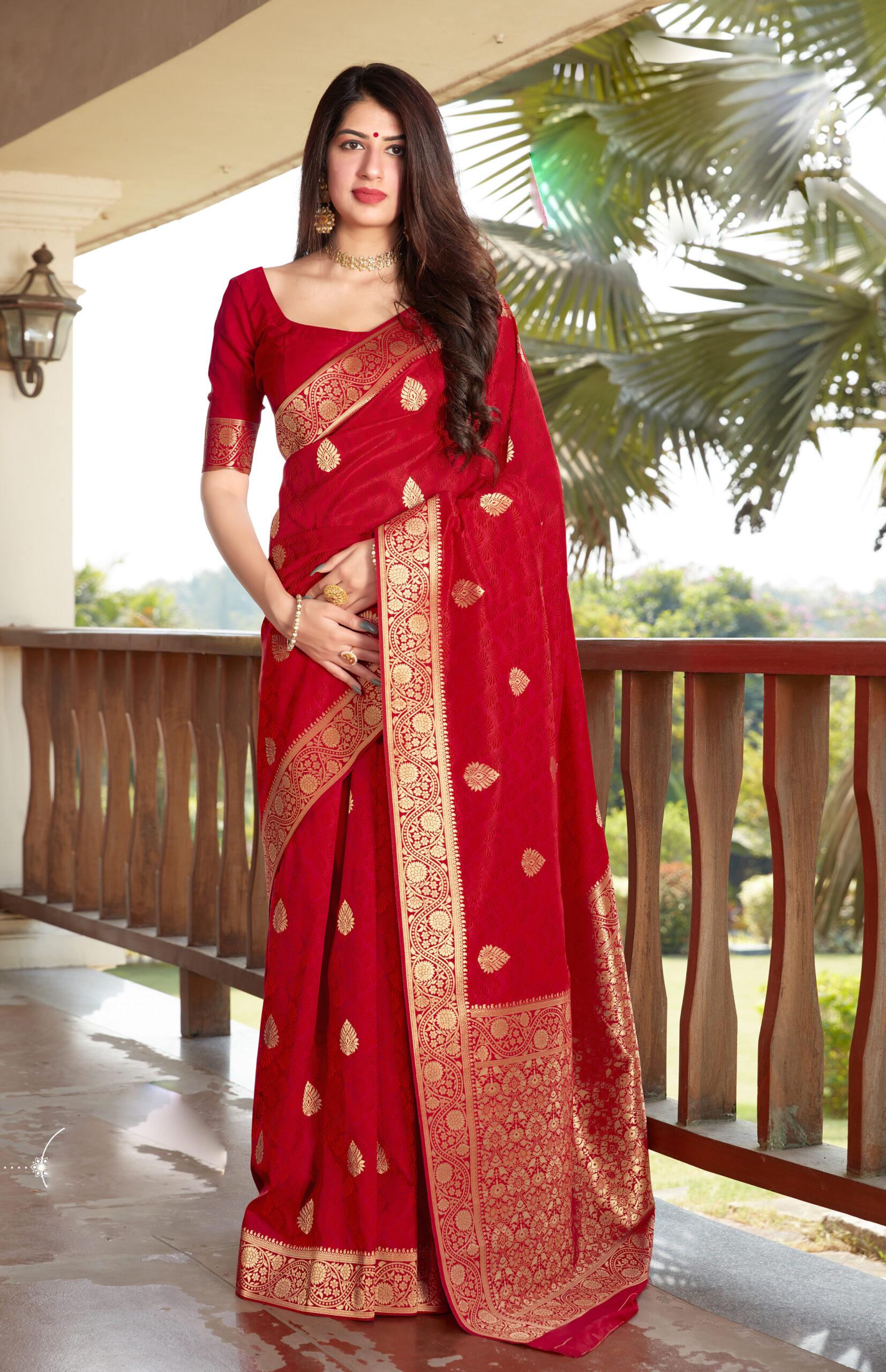 Best Trend Designer Red Color Latest Silk Saree Design 2021