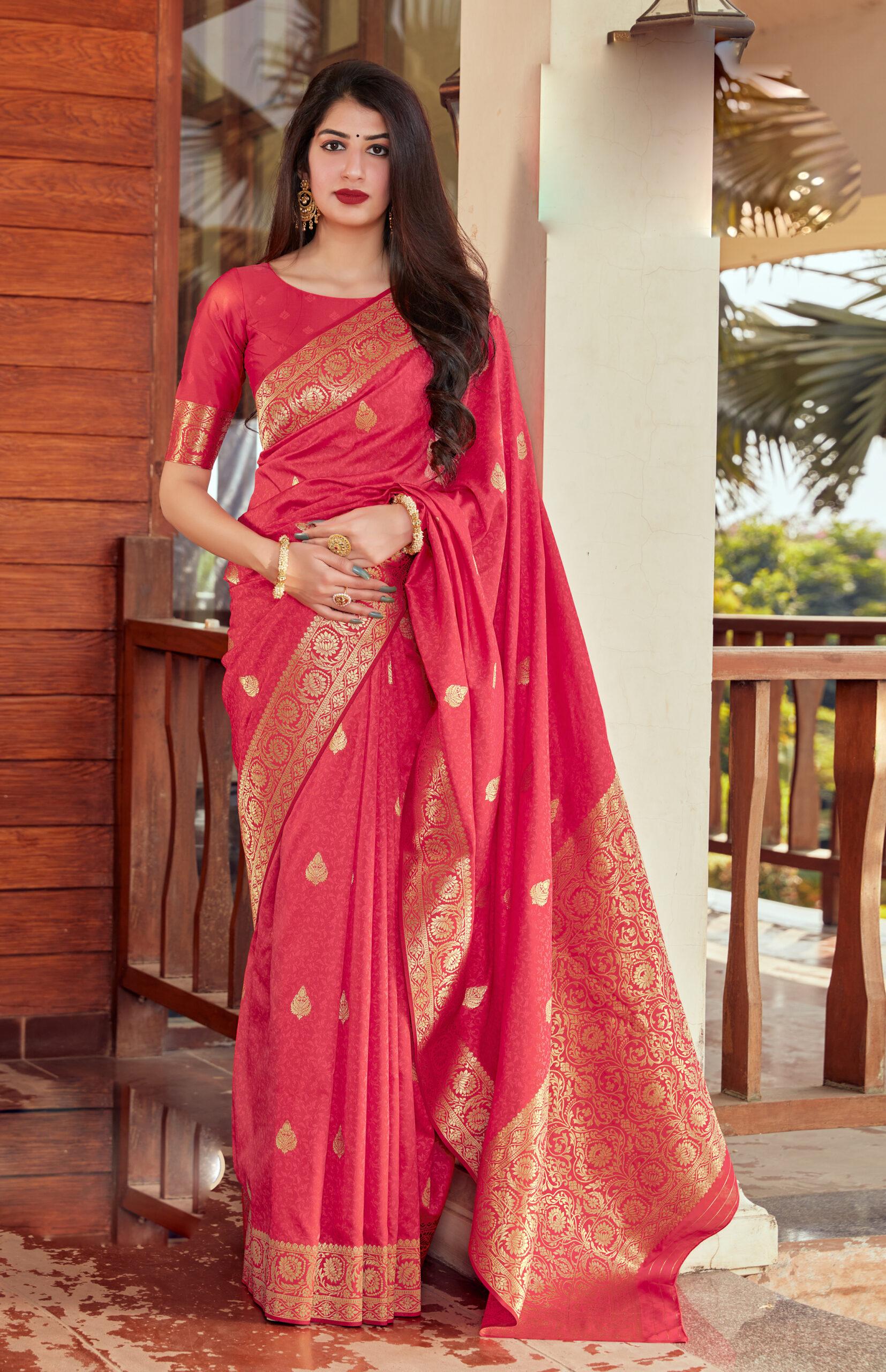 New trend Designer Pink Color Latest Silk Saree Designs 2021