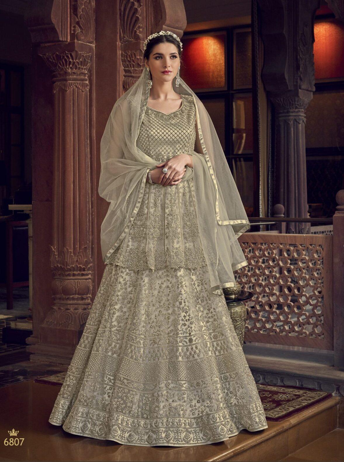 Anarkali Partywear Suits Silver Colour