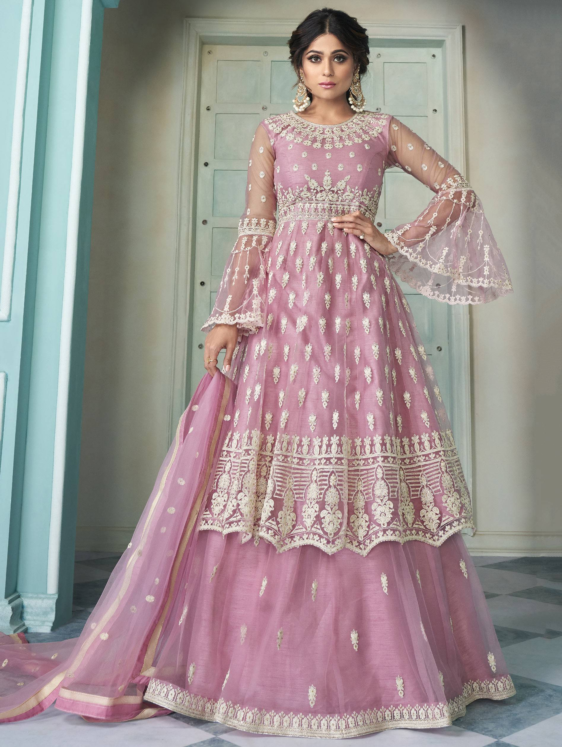 Best Embroidery Work Pink Color Anarkali Suit With Lehenga Punjabi Style