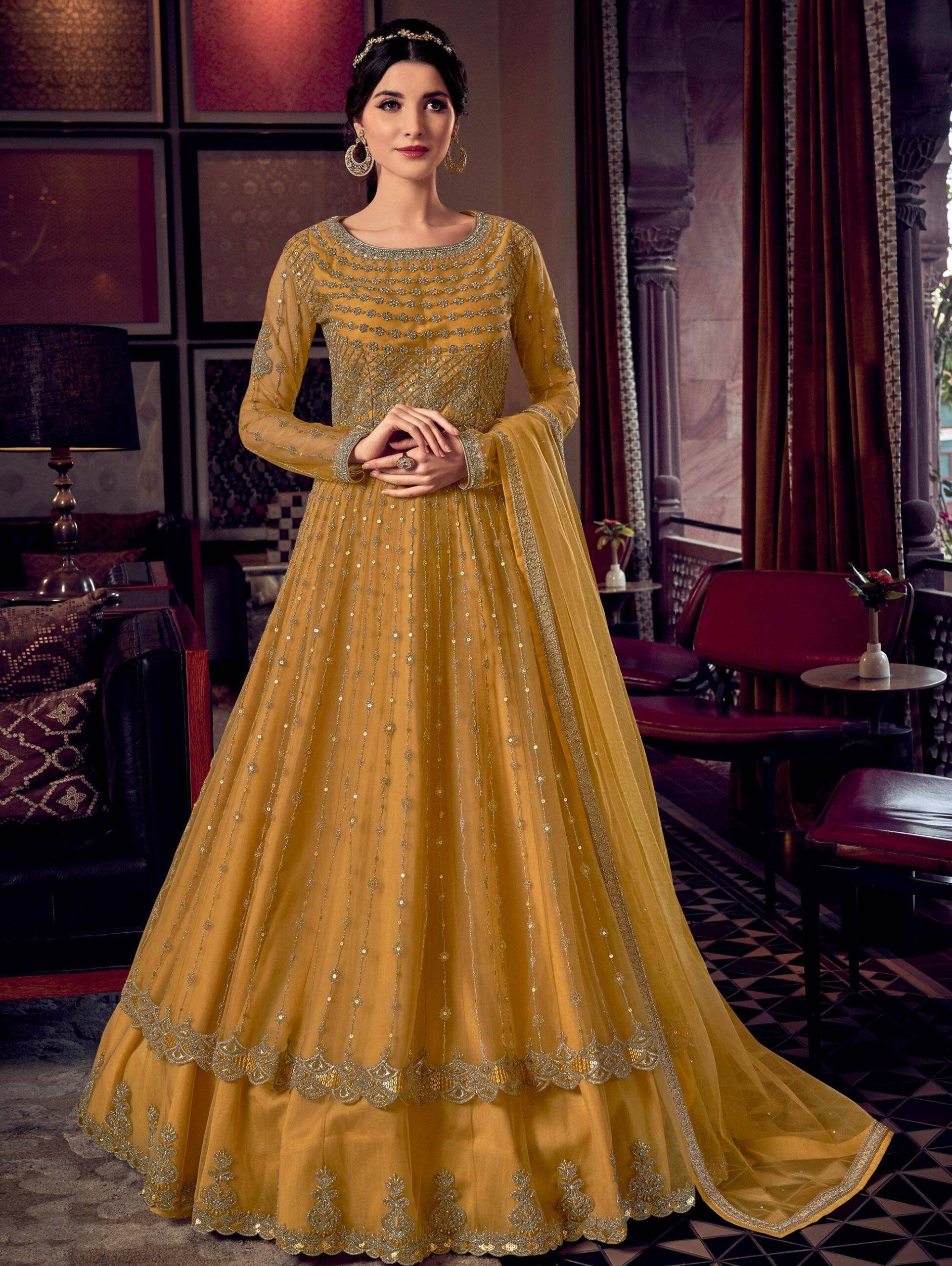 Yellow Colour Haldi Ceremony Dresses for Bride