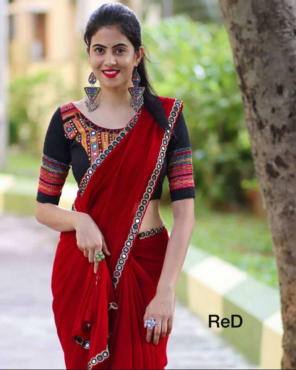Black and Red Saree Glass Work on Border