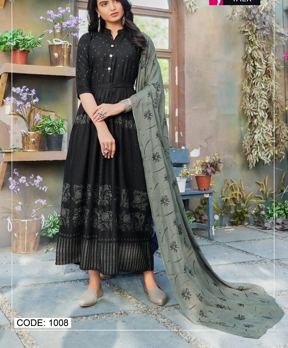 Digital Print Designer Cotton Black Kurta with Digital Print Dupatta