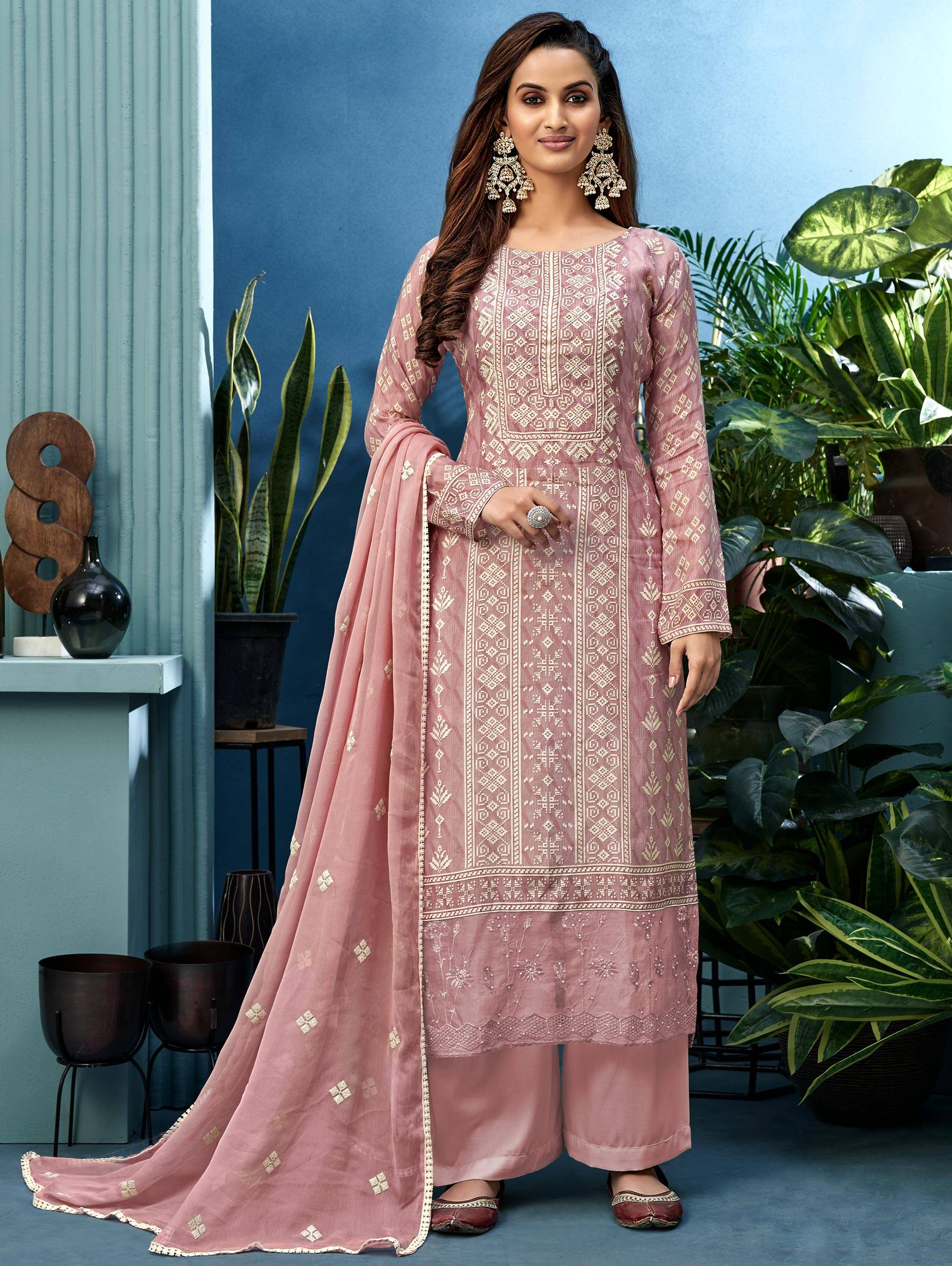 Heavy Embroidered Baby Pink Salwar Suit Punjabi Straight Cut