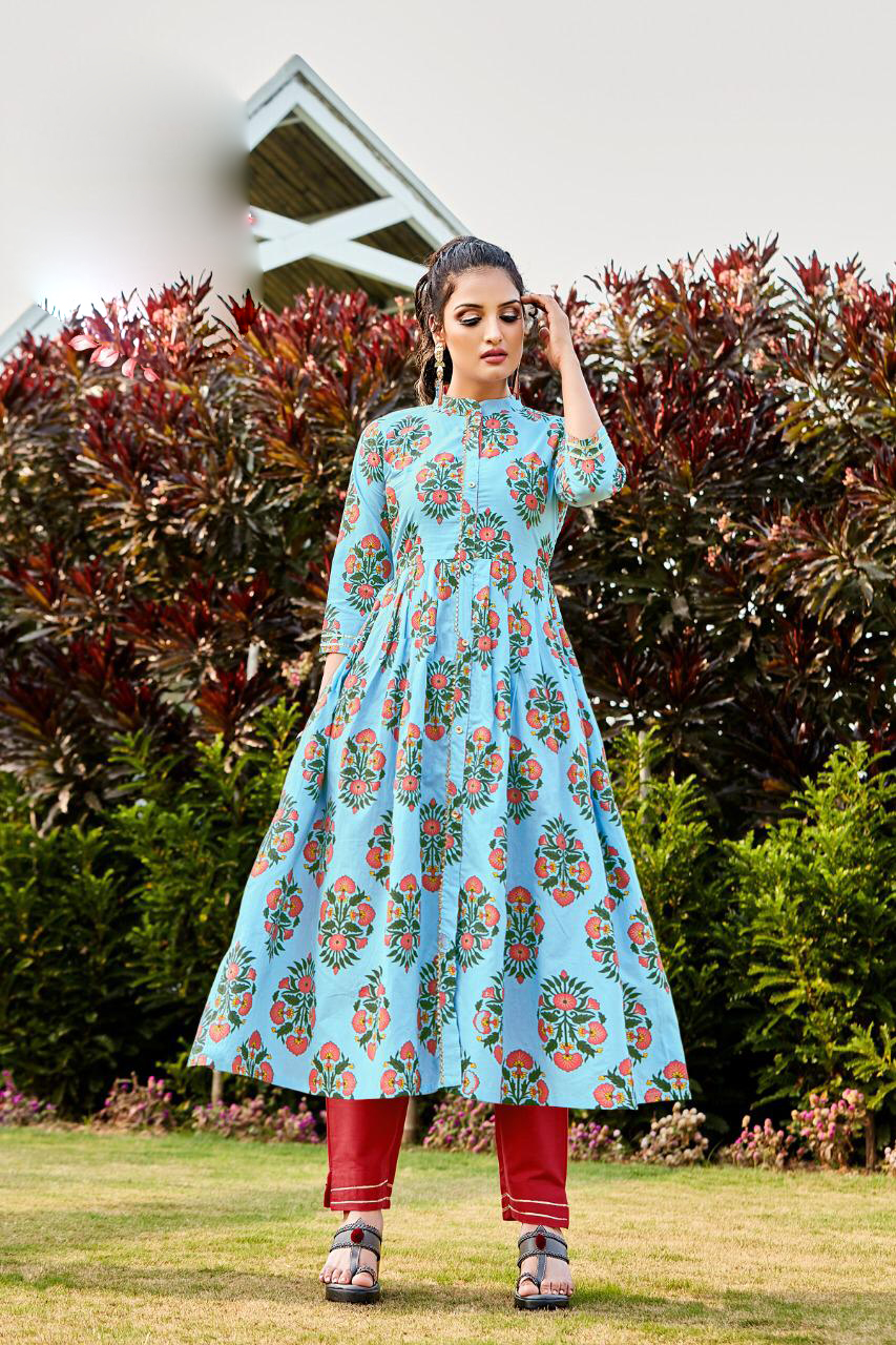 Latest Kurti Patterns in Cotton Baby Blue Colour
