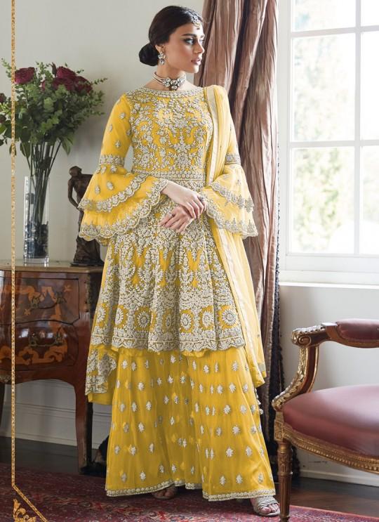 Luxury Punjabi Sharara Suit Haldi Function Dress