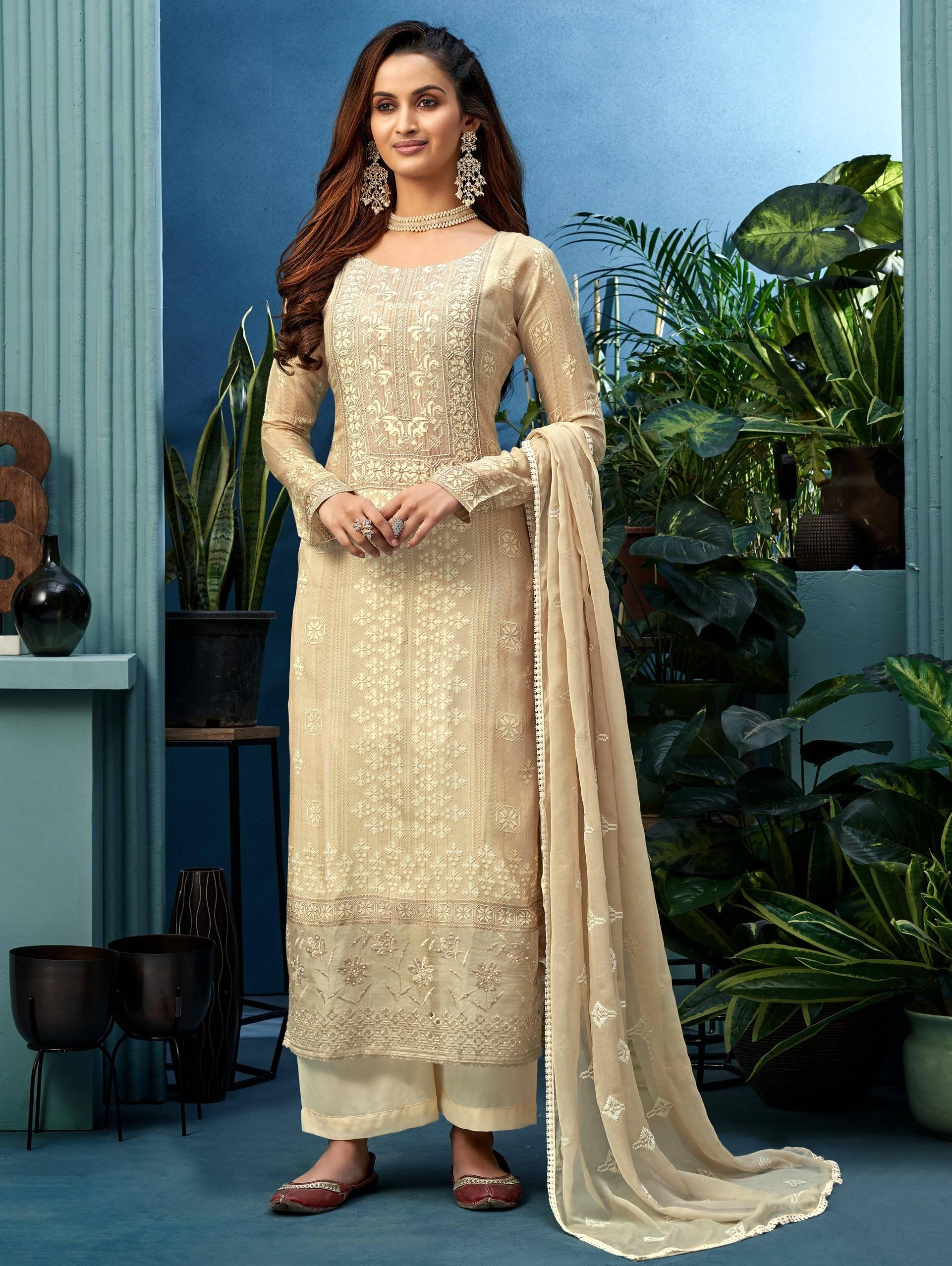 Off White Latest Designer Punjabi Suit Party Wear 2021