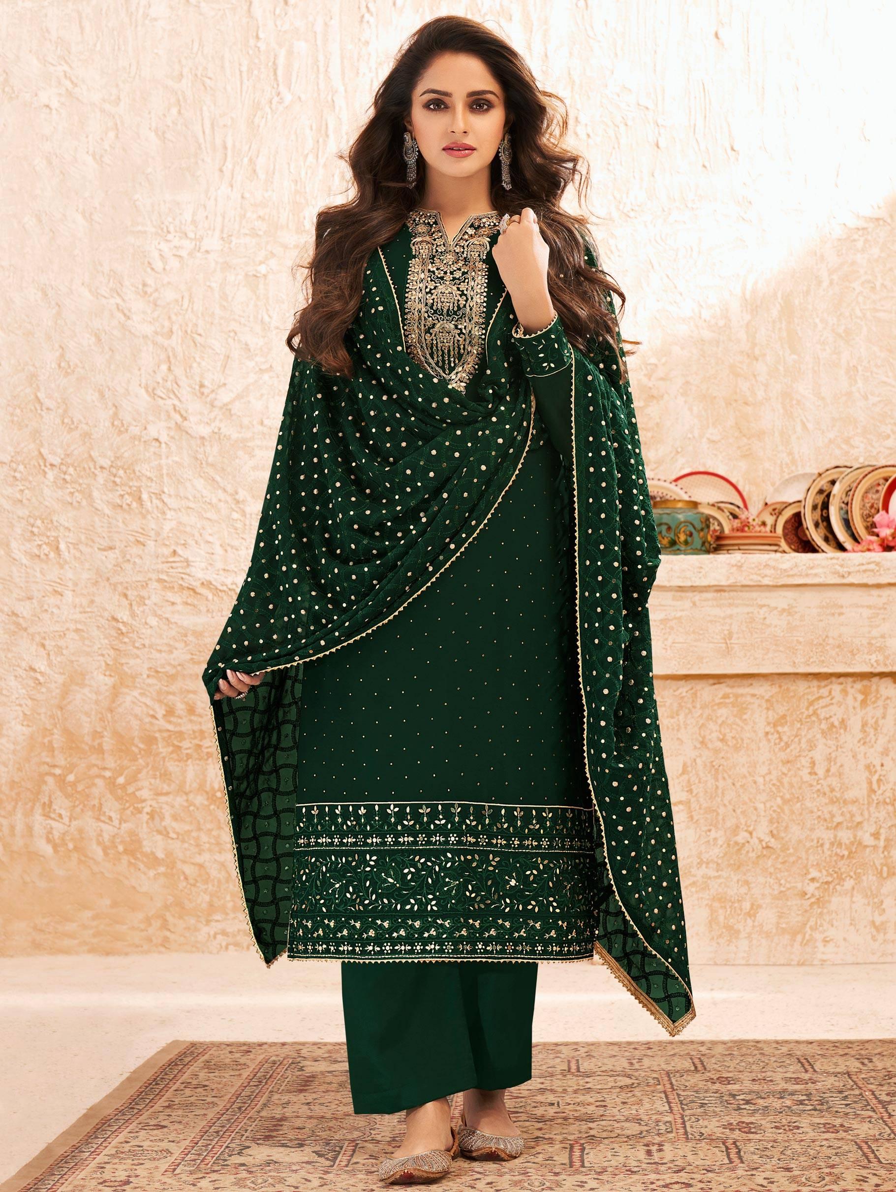Heavy Embroidered Green Salwar Suit Punjabi
