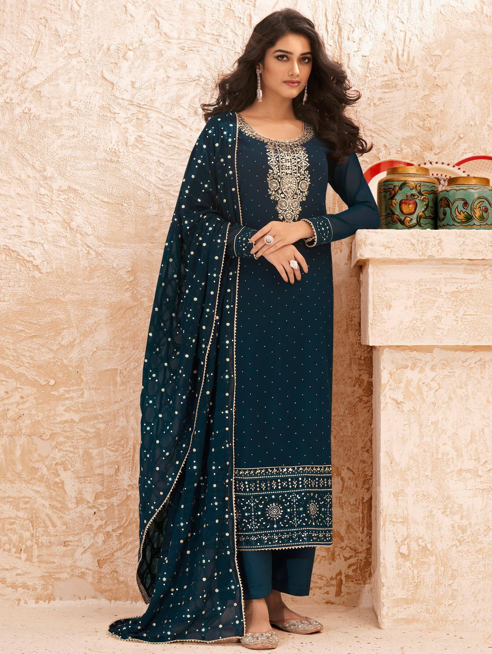 Navy Blue Salwar Suit New Design Real Georgette