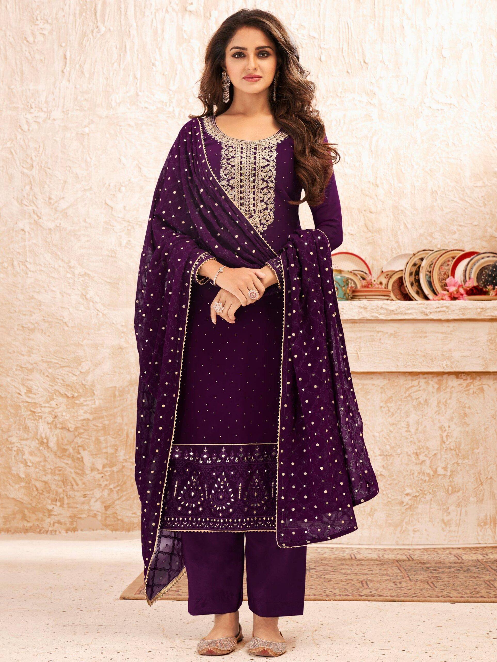 Purple Salwar Suits Latest Designs Party Wear