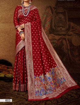 Burgundy Colour Party Wear Silk Saree
