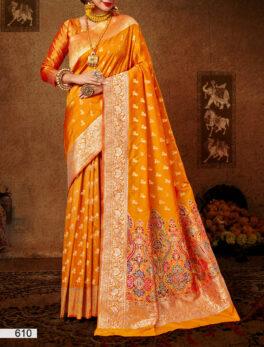 Orange Colour Party Wear Silk Saree Design New