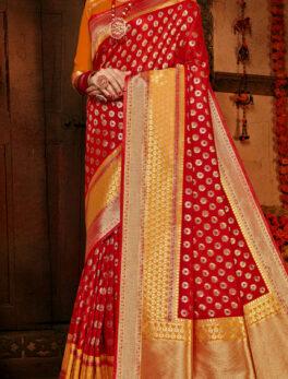 Party Wear Silk Saree Golden Border