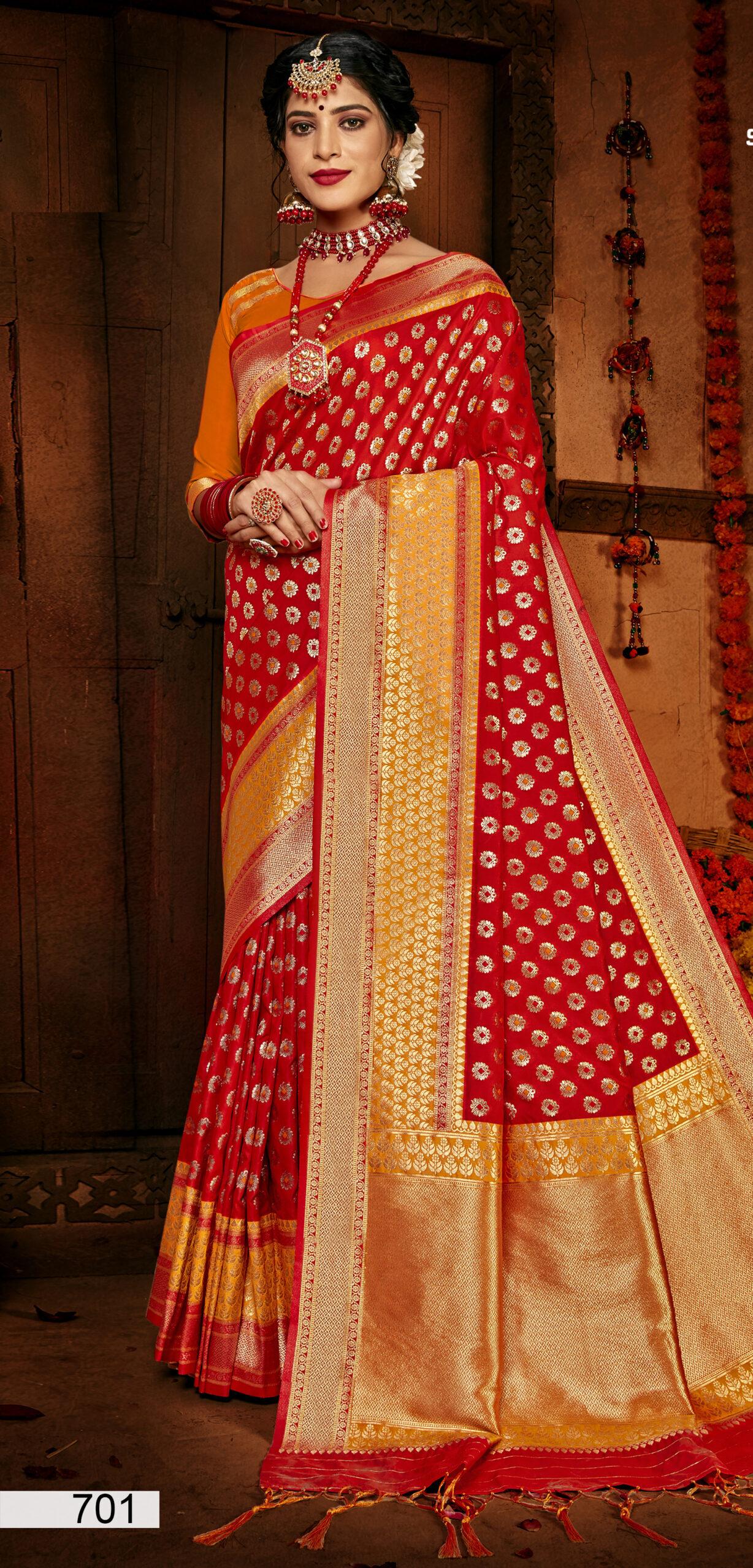 Red Silk Saree Blouse Design