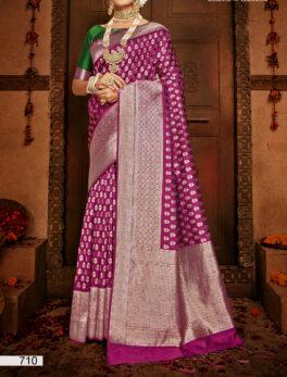 Wine Colour Silk Saree for Bride