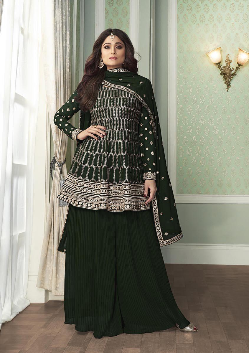 Shamita Shetty Style Dress Green New Design Salwar Suit