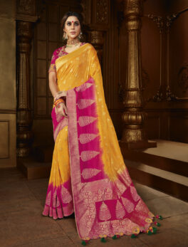 Magenta with Yellow Combination Best Silk Saree for Bride