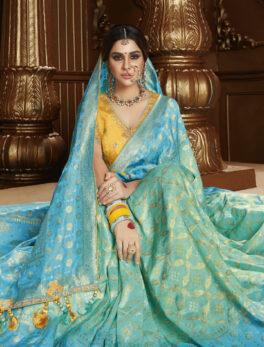 Turquoise Colour Designer New Pure Silk Saree