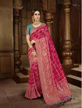 New Designer Bridal Saree Silk in Red Colour