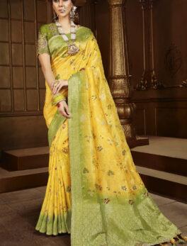 Yellow Colour Wedding Saree Silk