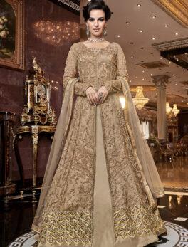 Party Wear Front Slit Anarkali Dress Long