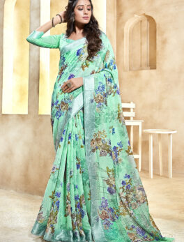 Baby Green Linen Saree Online 2021 with Price