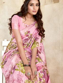 Baby Pink Best Saree in Linen