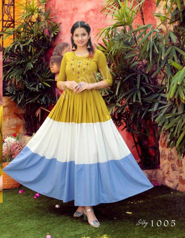 Best Embroidered Anarkali Cotton Kurti