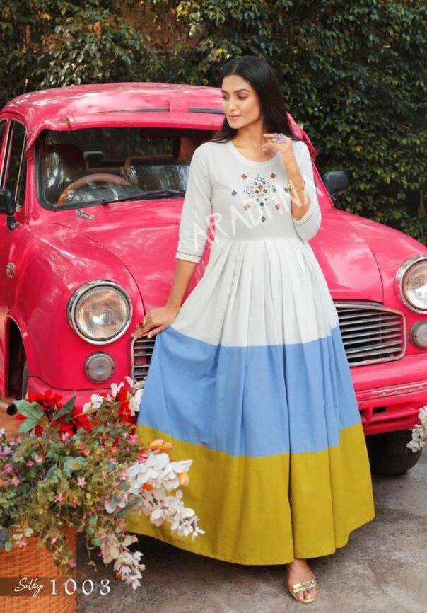 Best Embroidered Off White Anarkali Dress