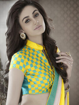 Best Saree in Online with Check Print Designer Blouse