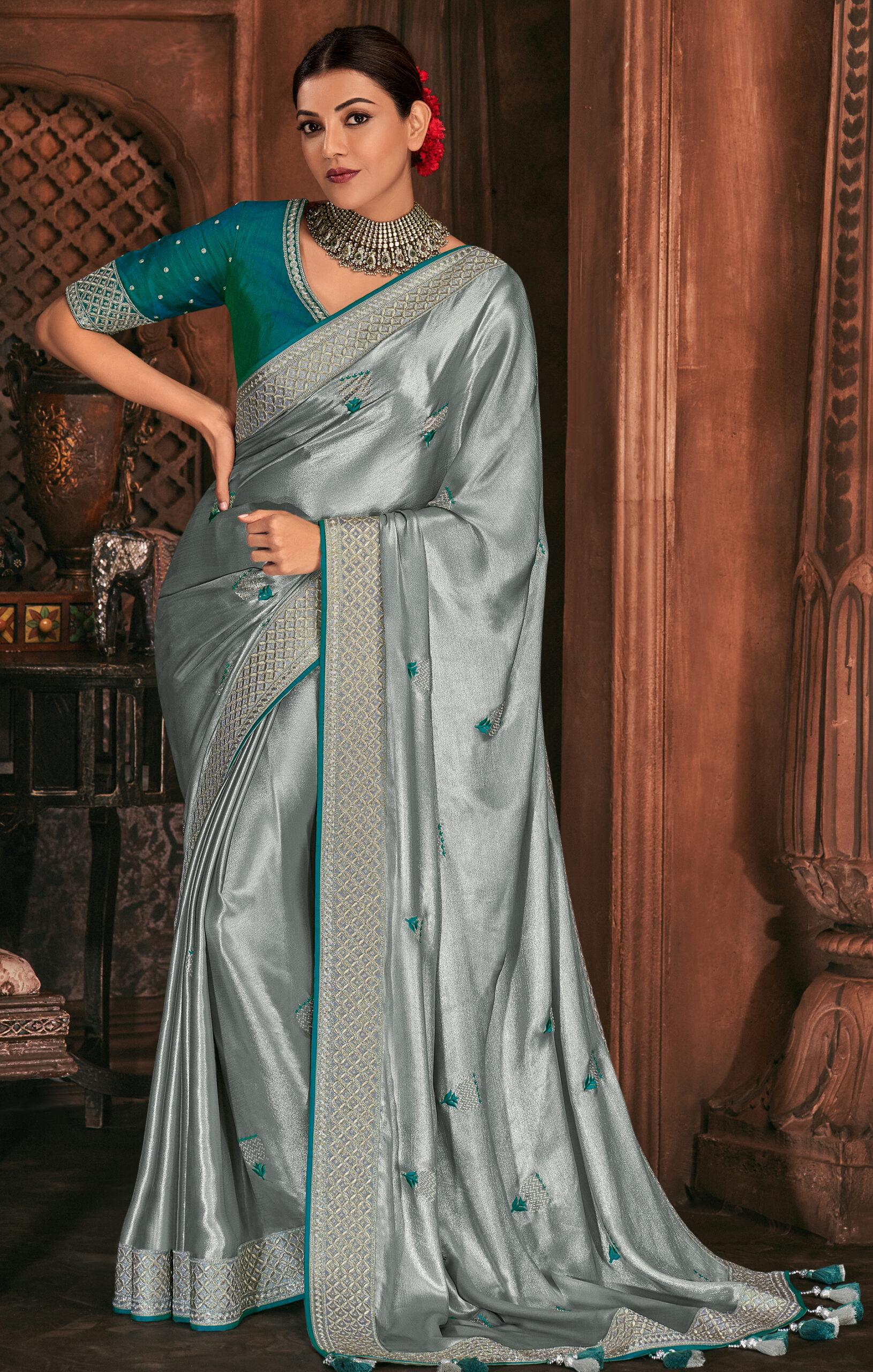 Grey Colour Plain Saree Contrast Blouse Pure Silk Saree Online