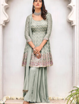 Grey ColourLatest Punjabi Sharara Suits Party Wear