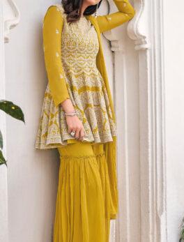 Haldi Ceremony Yellow Colour Punjabi Sharara Suits